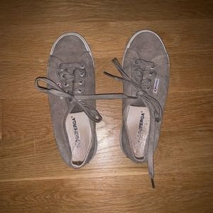 Taupe Suede Superga Platform Sneaker